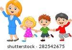 cartoon happy family | Shutterstock .eps vector #282542675