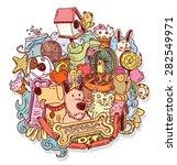 pet icons doodle  vector... | Shutterstock .eps vector #282549971