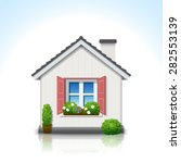 isolated white house with ...   Shutterstock .eps vector #282553139