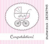 Retro Baby Carriage In Frame O...