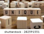 unique word written on wood... | Shutterstock . vector #282591551