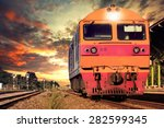 front view of trains on... | Shutterstock . vector #282599345