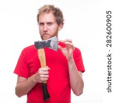 Small photo of Mad man holding a sharp ax - studio shoot