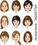 woman's face and hairstyle... | Shutterstock .eps vector #282607769