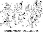 group of man marathon runners ... | Shutterstock .eps vector #282608045