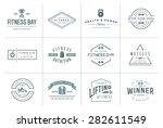 set of vector fitness aerobics... | Shutterstock .eps vector #282611549