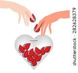 hand donate blood drop put in... | Shutterstock .eps vector #282628379