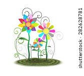 Cute toon whimsical flowers background illustration isolated on a white background. - stock photo