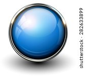 blue shiny button with metallic ... | Shutterstock .eps vector #282633899
