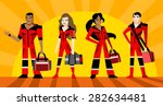 a group of paramedic heroes | Shutterstock .eps vector #282634481