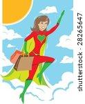 super hero girl flying away...   Shutterstock .eps vector #28265647