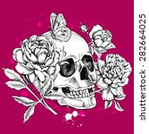 image of a skull with flowers... | Shutterstock .eps vector #282664025