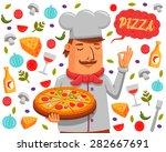 chef holding. pizza vector... | Shutterstock .eps vector #282667691