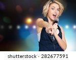 karaoke  singer  female.   Shutterstock . vector #282677591