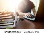 designer hand working with ... | Shutterstock . vector #282680441