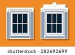 window on orange wall | Shutterstock .eps vector #282692699