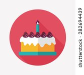 birthday cake flat icon with... | Shutterstock . vector #282694439