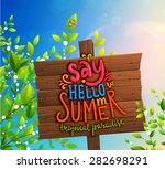 wooden plaque. summer sky  tree ... | Shutterstock .eps vector #282698291