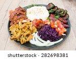 kebap plate. hummus  different... | Shutterstock . vector #282698381