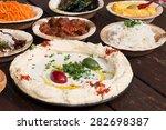 hummus  different appetizer ...   Shutterstock . vector #282698387