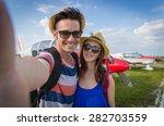 couple in love take a selfie in ...   Shutterstock . vector #282703559