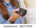 new film. close up of remote in ... | Shutterstock . vector #282717059