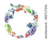 wreath composed of grapes and... | Shutterstock .eps vector #282717341
