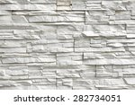 White Rough Tilled Stone Wall...