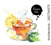 Stock vector watercolor hand drawn painted tea vector illustration menu design 282734375