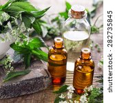 bottles with organic essential... | Shutterstock . vector #282735845