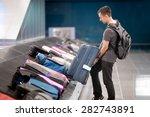 young handsome man passenger in ... | Shutterstock . vector #282743891