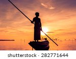 Silhouette Fishermen Are Using...