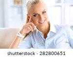 attractive businesswoman... | Shutterstock . vector #282800651