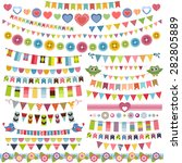 cute bunting and garland set | Shutterstock .eps vector #282805889