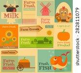 farm. set mini posters in flat... | Shutterstock .eps vector #282811079