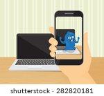 human hand holds spmartphone... | Shutterstock .eps vector #282820181