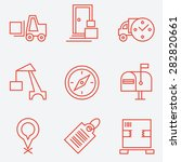 logistic icons  thin line style ...   Shutterstock .eps vector #282820661