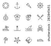 nautical line icons set vector... | Shutterstock .eps vector #282845651