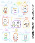 portraits of happy family....   Shutterstock .eps vector #282850019