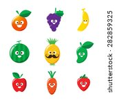 collection of happy fruit... | Shutterstock .eps vector #282859325