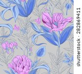 seamless pattern of tulip... | Shutterstock .eps vector #282869411