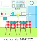 flat kitchen. vector... | Shutterstock .eps vector #282869675
