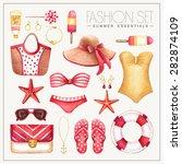 vector watercolor red  yellow... | Shutterstock .eps vector #282874109