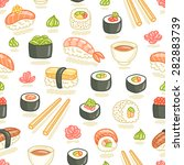 sushi and rolls seamless pattern | Shutterstock .eps vector #282883739