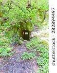 Small photo of OMORI, JAPAN - MAY 19, 2015: Upcast of Ryugenji Mabu Shaft of Iwami Ginzan Silver Mine cultural landscape, Shimane Prefecture, Japan. World Heritage site of UNESCO