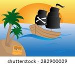 pirate ship with black sails on ... | Shutterstock .eps vector #282900029