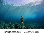 freediver girl in yellow bikini ... | Shutterstock . vector #282906101