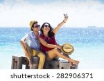 group of young people traveling ... | Shutterstock . vector #282906371