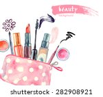 watercolor cosmetics pattern.... | Shutterstock .eps vector #282908921