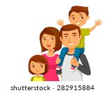 Cute Cartoon Family With Two...
